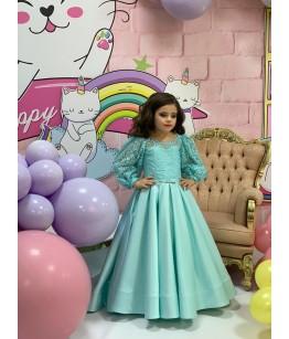 Rochita lunga pentru fetita, tafta cu dantela, maneca lunga, turcoaz, 1- 12 ani, 80-152 cm, 27046