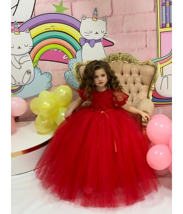 Rochita lunga rosie din tulle si dantela, 1-2 ani, 80-92 cm, 27049