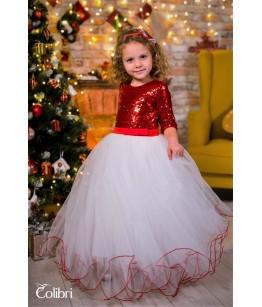 Rochita din tulle alb si paiete rosii pentru fetite, 2-12 ani, 92-152 cm, Colibri, 27050