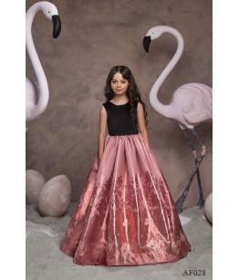 Rochita lunga de ocazie pentru fetite, Flamingo 028, motive florale, 2-13 ani