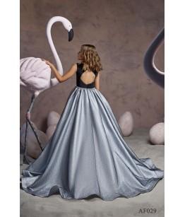 Rochie lunga de ocazie, pentru fete, 2-13 ani, tafta lucioasa, Flamingo 029