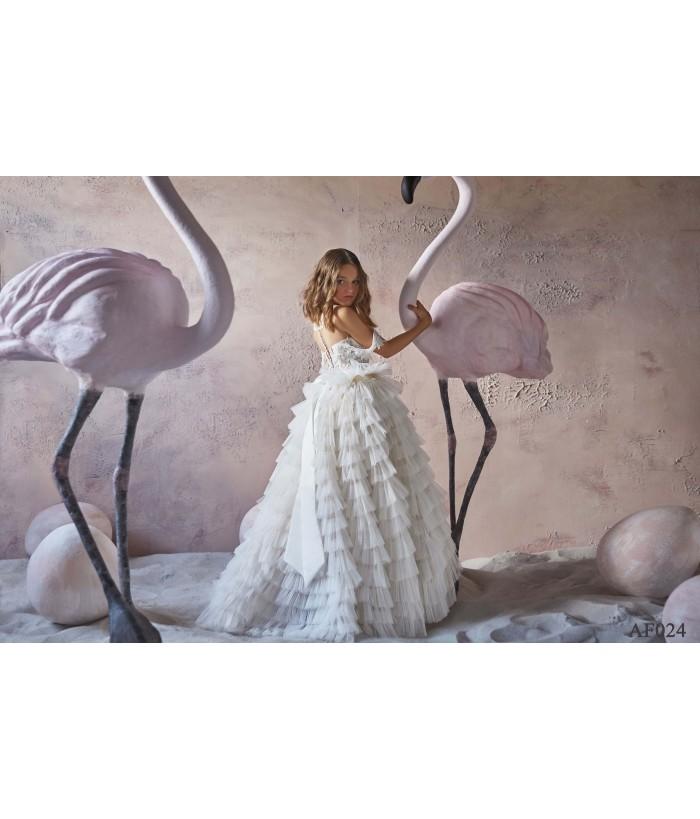 Rochita lunga alba pentru fete, 2-13 ani, Flamingo 024