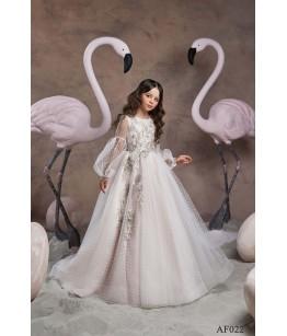 Rochie lunga cu trena alba de printesa, aplicatii florale, 2-13 ani, Flamingo 022
