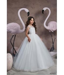 Rochie alba lunga pentru printesa, 2-13 ani, Flamingo 021