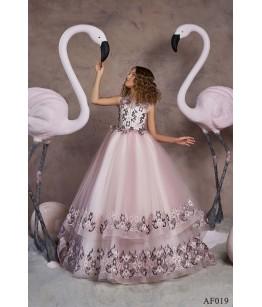 Rochita lunga din voal roz pentru printese, 2-13 ani, Flamingo 019