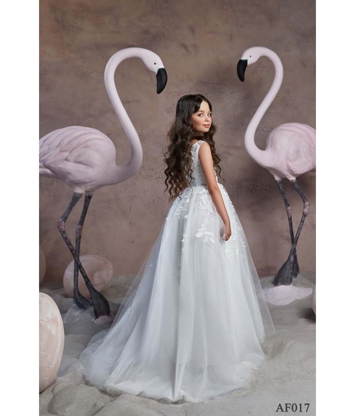 Rochita lunga cu trena alba, voal cu aplicatii florale, 2-13 ani, Flamingo 017
