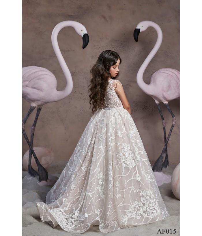 Rochie din voal alb pentru fetite, 2-13 ani, Flamingo 015