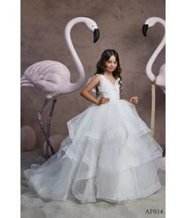 Rochie lunga din voal alb, 2-13 ani, Flamingo 014