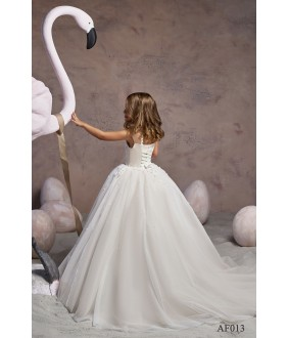 Rochie cu trena alba pentru fetite, 2-13 ani, Flamingo 013