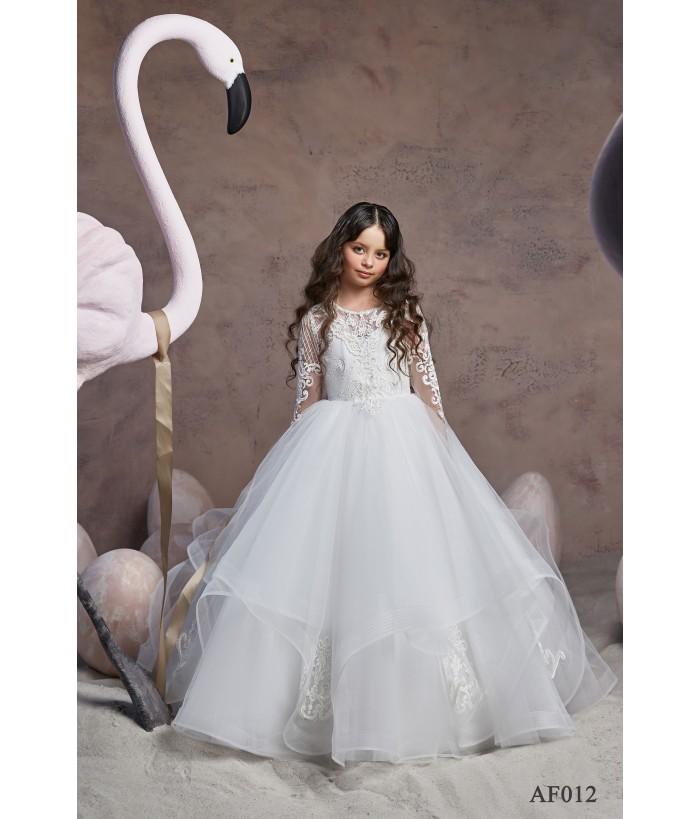 Rochie alba pentru fete, tulle, 2-13 ani, Flamingo 012