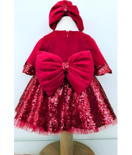 Rochita de catifea rosie si paiete, 0-2 ani, Colibri, 27088