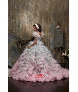 Rochie de lux fata, 2-13 ani, trena lunga, tulle si pene, 27111