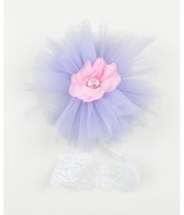 Bentita fetita 0-7 ani, mov lila, dantela cu tulle
