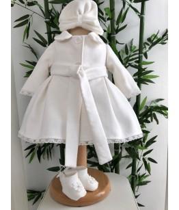 Palton elegant alb de fetita, stofa, 0-2 ani, Colibri