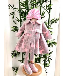 Paltonas bebe imprimeu roz cu gri, 0-2 ani, Colibri