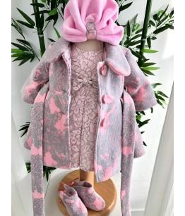 Turban de fetita polar roz, 0-2 ani