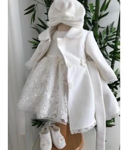 Turban alb fetita, polar, 0-2 ani