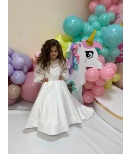 Rochita printesa, 1-12 ani, tafta cu dantela, 27158