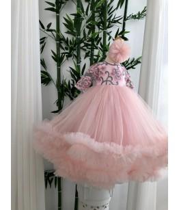 Rochita lunga de fetita din tulle roz si broderie, maneca lunga, 0-2 ani