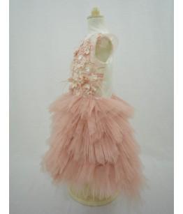 Rochita pentru fetite, Isadora Pink, roz pudra, tulle, 1-5 ani, 80-110 cm