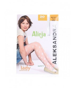 Dres fetita Alicja, alb, 20 den, cu model, 6-13 ani