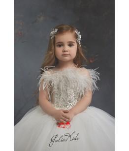 Rochita de lux fetita, 2-13 ani, cu aplicatii pene si paiete