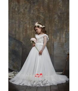 Rochie de lux fetita, dantela si broderie, 2-13 ani