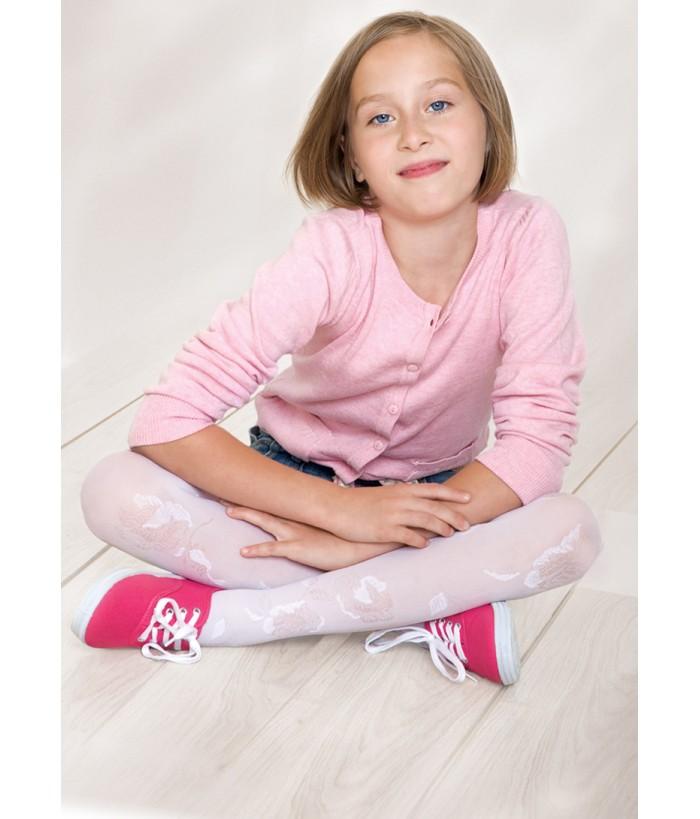 Dres pentru fetite, alb, 3D, Amelia, 6-11 ani, 50 Den