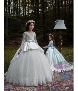 Rochita eleganta de printesa, broderie  si tafta, cu trena lunga, 2-13 ani