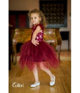 Rochita de ocazie din tulle bordo,  Charlotte, 0-2 ani, Colibri