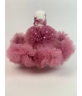 Lumanare botez, roz pudra, 27734