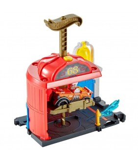 Pista de masini Hot Wheels by Mattel City Downtown Fire Station Spinout cu masinuta