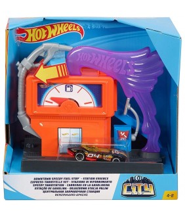 Pista de masini Hot Wheels by Mattel City Downtown Speedy Fuel Stop cu masinuta