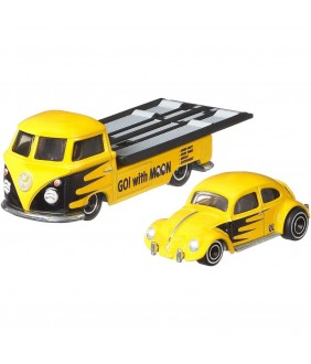 Camion Hot Wheels by Mattel Car Culture Volkswagen Transporter T1 Pickup cu masina Volkswagen Classic Bug