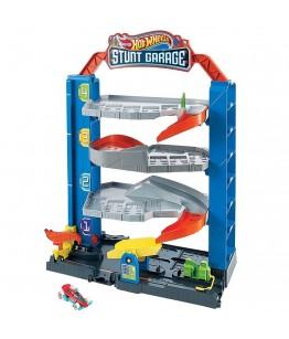 Jucarie Hot Wheels by Mattel City Garajul cu cascadorii cu 1 masinuta