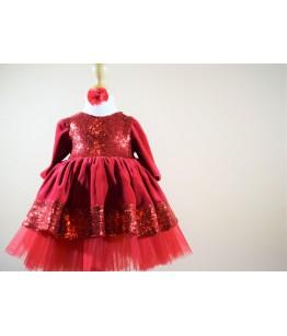 Rochita rosie din catifea cu paiete, 0-12 ani, Colibri, 28155