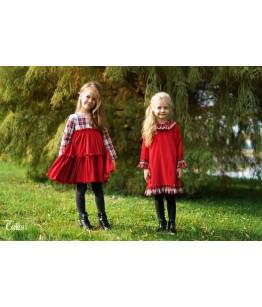 Rochita fetita rosie din catifea, 1-12 ani, Colibri, 28159
