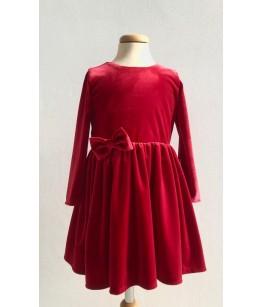 Rochita de catifea rosie cu maneca lunga, 1-12 ani, Colibri, 28170