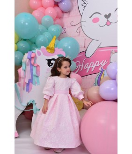 Rochita fetita lunga din tafta si broderie roz, 6 luni-12 ani, 28539