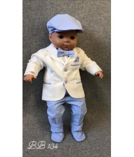 Costum botez baiat cu sacou alb si pantaloni bleu, 0-9 luni, 28555