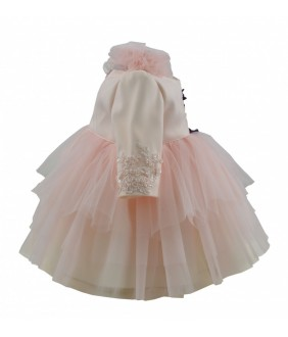 Rochita botez Delia, 0-6 luni, roz, tulle, maneca lunga