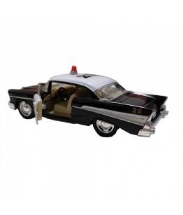 Masinuta de politie Chevrolet Bel Air (1957), alb/negru, die-cast, 12.7 cm