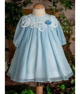 Rochita de botez din voal bleu deschis, 3-6 luni, 28776