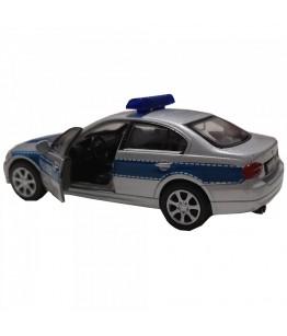 Masinuta de politie BMW 330i, GoKi, gri/albastru, die-cast, 12 cm