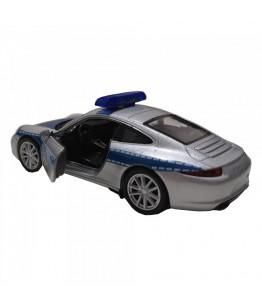 Masinuta de politie Porsche 911 Carrera S, GoKi, gri/albastru, die-cast, 12 cm