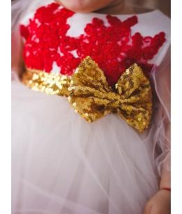 Rochita fetita alb cu rosu si auriu, 0-4 ani, 28840