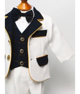 Costum baieti, alb cu insertii aurii, 0-4 ani, JuliaKids, 38846