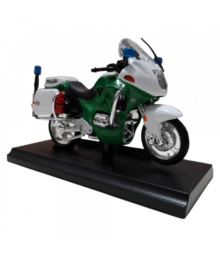 Motocicleta BMW R1100 RT (Police Version), GoKi, alb/verde, die-cast, 13 cm