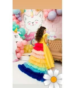 Rochie cu trena multicolora, 1-12 ani, JuliaKids, 28938