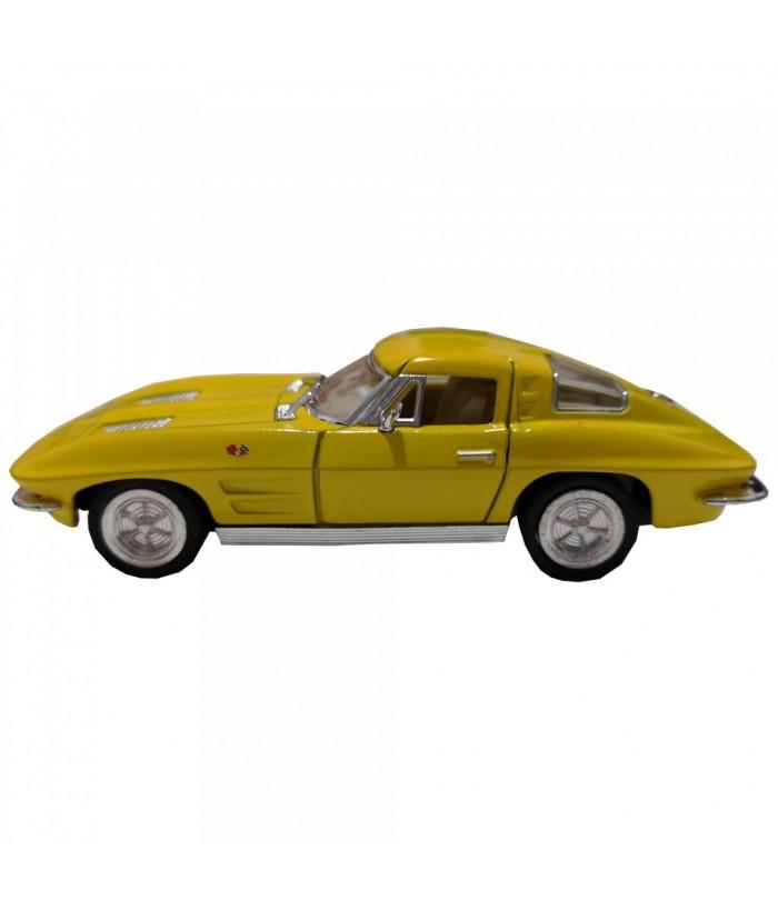 Masinuta Corvette Sting Ray (1963), GoKi, galben, die-cast, 13 cm